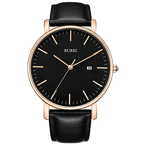 BUREI Men's Watch Ultra Thin Women Quartz Analog Wristwatch Date Calendar Dial Stainless Steel Mesh Band & Leather Band