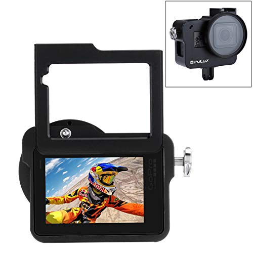 PULUZ for GoPro Hero 7 Black New Hero (2018) GoPro Hero 6/5 CNC Aluminum Alloy Housing Shell Case Protective Cage with Insurance Frame & 52mm UV Lens (Black)