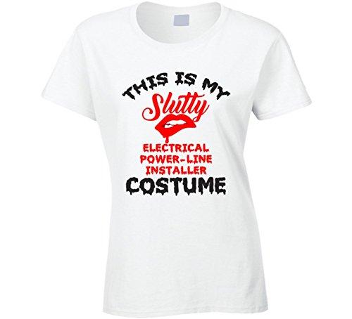 This is My Slutty Electrical Power-Line Installer Costume Halloween T Shirt XL (Powerline Halloween Costume)
