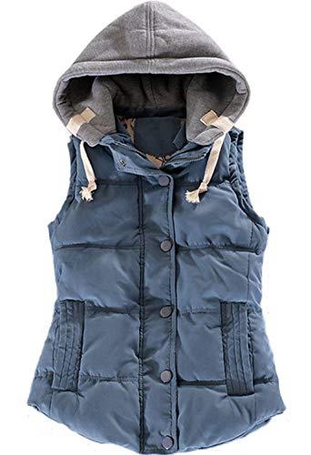 Femme Gilet lgant sans Manches  Capuchon Gilet Automne Hiver Rembourrage Chaud Vtements Gilet Matelass Fashion Casual Trendy Chic Vest Hipster Jacket Outerwear avec Zip Blau