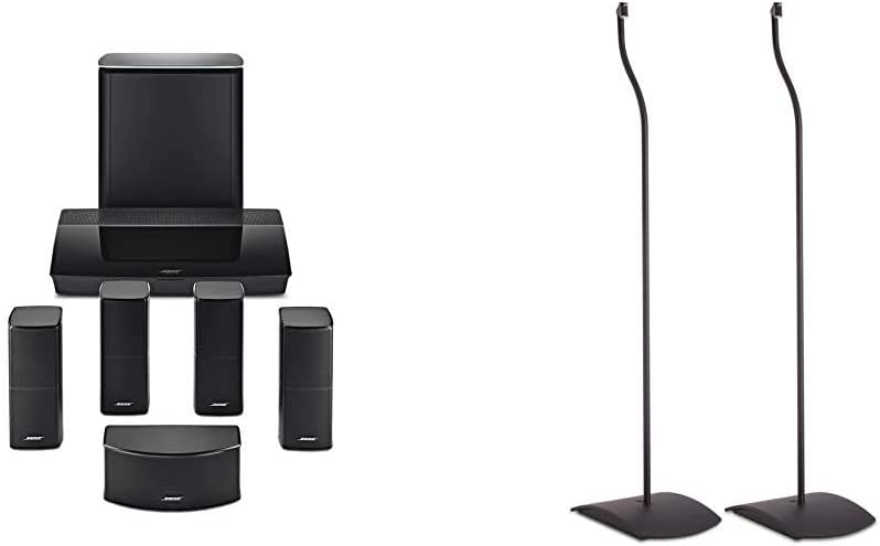 Bose Lifestyle 600 Home Entertainment System, Compatible with Alexa - Black & UFS-20 Series II Universal Floor Stands (Pair of 2) - Black