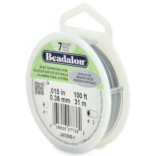 Beadalon Wire Satin (Beadalon 7-Strand Stainless Steel 0.015-Inch Bead Stringing Wire, 100-Feet, Satin Silver)