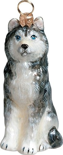 Joy to The World Collectibles European Blown Glass Pet Ornament, Siberian Husky ()