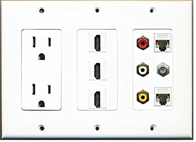 RiteAV Power 3 Port HDMI Composite 3-RCA A/V 2 Cat5e Ethernet Coax TV Wall Plate