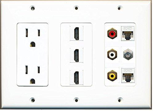 (RiteAV Power 3 Port HDMI Composite 3-RCA A/V 2 Cat5e Ethernet Coax TV Wall Plate - White)