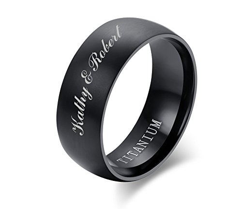 Personalized Wedding Band Ring (Personalized Custom Engraving Titanium Black Brushed Dome Wedding Bands Engagement Ring for Men, 8mm,size 8)