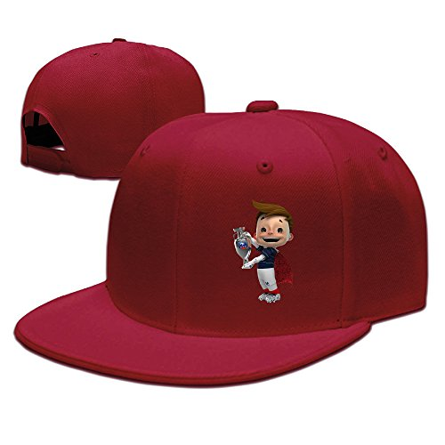 Euro 2016 Champ France Unisex Running Hat Snapback Flat Bill Cap Red (Uggs Sale Mens Slippers On)