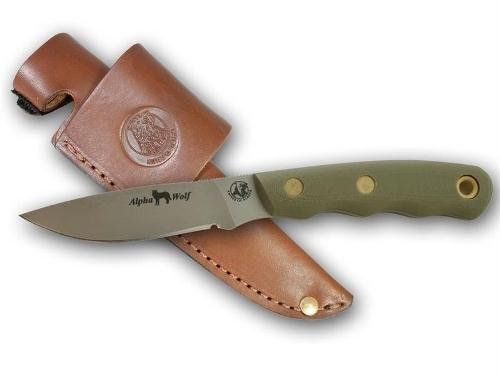 Knives of Alaska Alpha Wolf Fixed Blade D2 Steel G-10 OD Green Handles