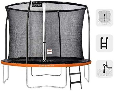 GREADEN Trampolín de Jardín Redondo Freestyle + 250/305/360/430 Pack Medium + Escalera + Kit de Anclaje: Amazon.es: Deportes y aire libre