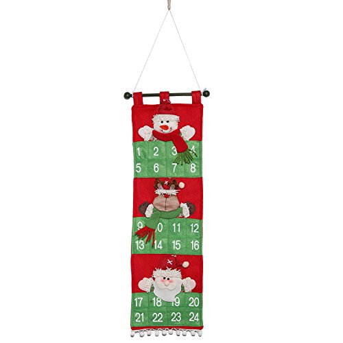 GuLute Countdown to Christmas Advent Calendar for Kids and Adult,Christmas Decorations Calendar Hanging Home or Office,Santa Claus Snowman and Reindeer on The Calendar
