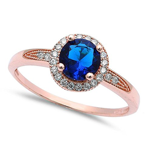 Oxford Diamond Co Rose Gold Plated Halo Simulated Blue Sapphire Cubic Zirconia .925 Sterling Silver Ring Sizes 6