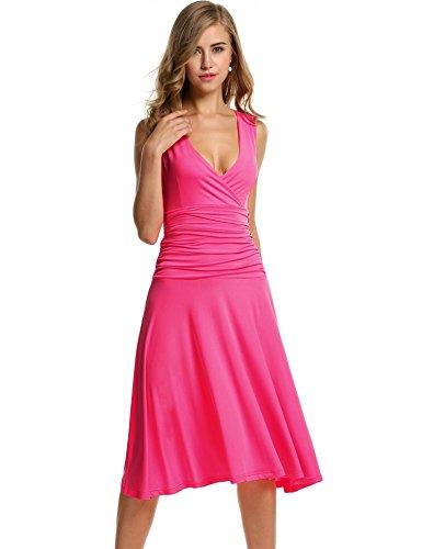 Meaneor Vestido Mujer Plisada Casual para Verano de Talla Grande S-XXL Rosa