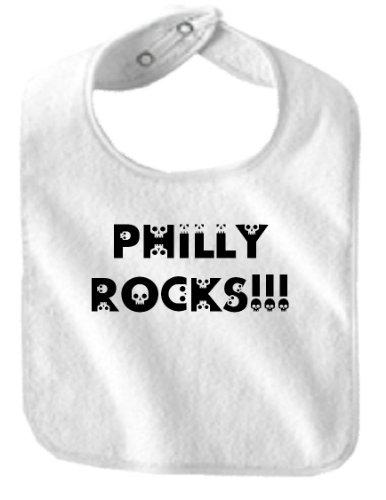 PHILLY ROCKS!! - Skulls - BigBoyMusic Baby Designs - Bibs - White Bib