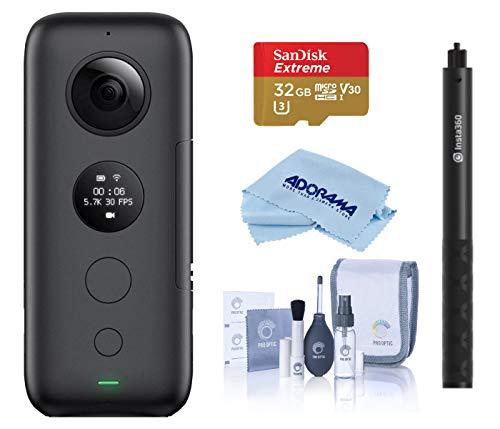 Insta360 ONE X Action Camera (CINONEX/A) - Bundle Selfie Stick - 32GB Micro SDHC U3 Card