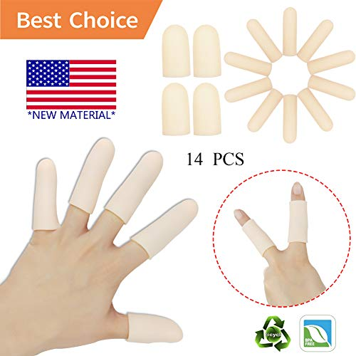 Pnrskter Gel Finger Cots, Finger Protector Support(14 PCS) New Material Finger Sleeves Great for Trigger Finger, Hand Eczema, Finger Cracking, Finger Arthritis and More. (Small Size) (Nude, Small) price tips cheap