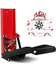 16oz Metal Can Crusher, Wall-Mounted Easy Smasher with Beer Opener, Eco-friendly Accessories for Soda Cans, Recycling Bottle Compactor Tool for Home, Kitchen with Snowflake Multi Tool (Red)