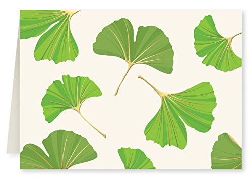 Faux Designs - Ginkgo Foil Embossed Blank Folded Note Card Set of 8