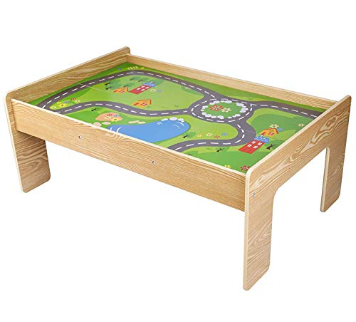 Pidoko Kids Train Table, Natural - Perfect Toy Gift Set for Boys & Girls - Activity Table That is Compatible with All Major Brand Train Sets and -