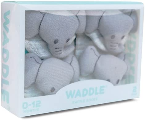 f261661fd6028 Waddle and Friends 2 Pairs Unisex Baby Sensory Rattle Socks Elephant Grey  0-12M