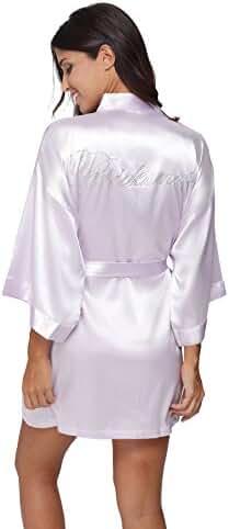 TheBund Women's Pure Colour Short Kimono Robes for Wedding Party