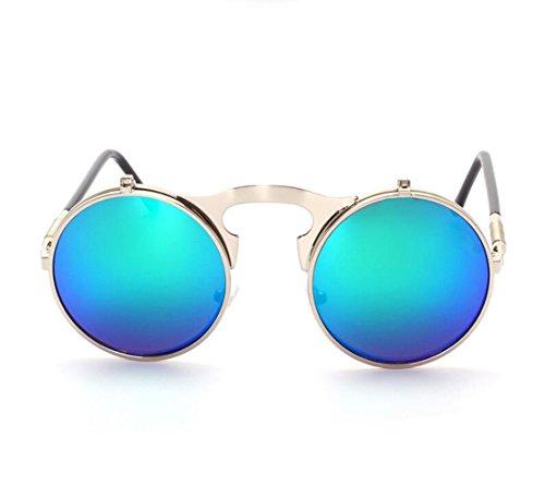 Femmes Cercle Vintage Hommes soleil Cadre Rétro rond Sunglasses Lunettes de Vert Argent Miroir Lens Revêtement Steampunk zqqdv0