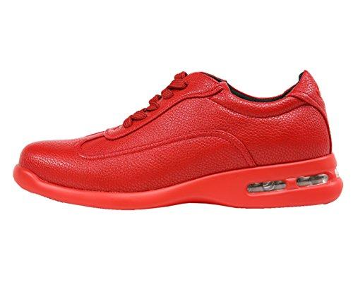Sio Low Top Sneakers With Smooth Patent & Pebble Grain Designs Estilos Braun, Saxon Red