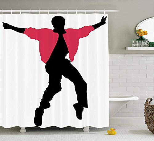 - JAKE SAWYERS Elvis Presley Decor Shower CurtainAmerican Artist King Icon Blues Performer Singer Silhouette, Fabric Bathroom Decor Set with Hooks, 70 Inches, Dark Coral Black White
