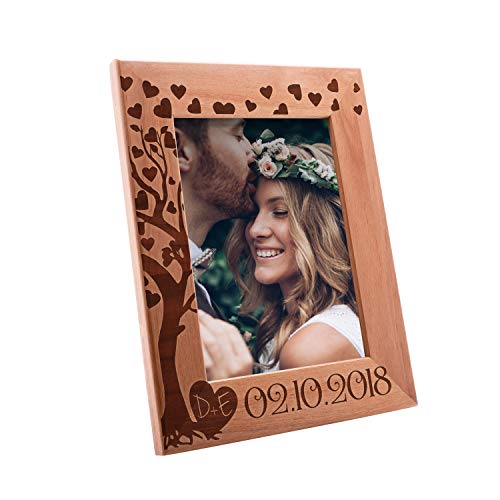 (Personalized Wooden Wedding, Engagement, Valentines Day, Memorial Picture, Customized Bamboo Photo Frame - Custom Frame - Size Options: 4x6 | 5x7 | 8x10 (WD1))