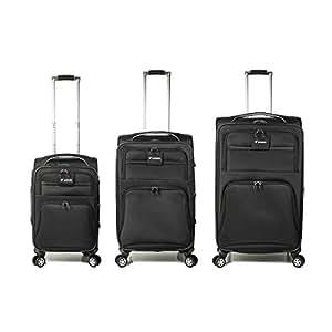 Set of 3 Trolley Bag with 4 wheel system - Black - Model: K89