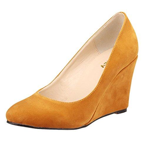 de cieloange Baja único Mujeres Color Xianshu Punta de Zapatos Bombas Cuña Talón Boca Sólido Zapatos Toe 171ZnWIqw