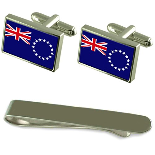 Cook Islands Flag Silver Cufflinks Tie Clip Engraved Gift Set by Select Gifts