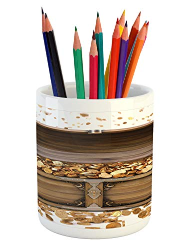 Ambesonne Chest Pencil Pen Holder, Wealth Themed Gold Coins Kings Ransom Wooden Box Pirate Treasure Picture, Ceramic Pencil Holder for Desk Office Accessory, 3.6