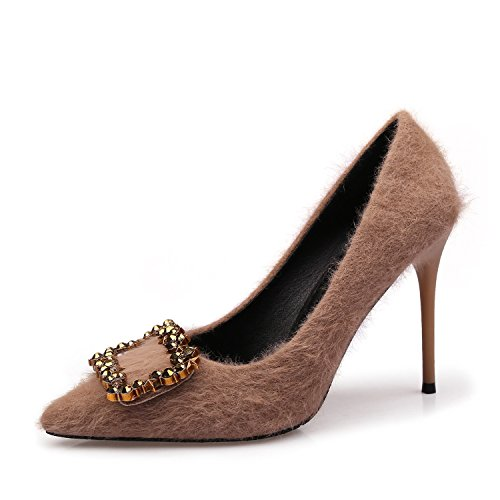 tacón Mujer ZXMXY de Sandalias Punta Cuadrada Zapatos de Marrón Alto con EXwwqB4xg