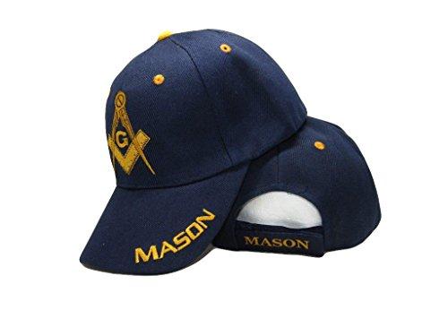 Blue and Gold Mason Masons Freemason Masonic Lodge Ball Cap 3D embroidered (Lodge Cap)