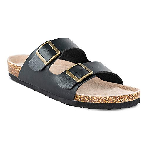 - TF STAR Men's Slip On Flat Casual Cork Sandals with 2-Strap Buckle,Leather Cork Slide Arizona Sandals for Men Black