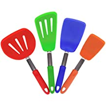 KaraMona Silicone Turner Spatula Set of 4 Rainbow Color, BPA Free & FDA Approved, Set Contains: Large Slotted Turner Spatula, Wide Slotted Turner Spatula, Large Spatula, Regular Spatula