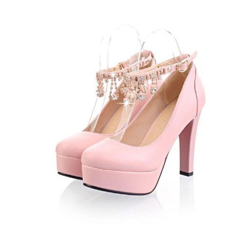 Carolbar Womens Buckle Chains Shiny Rhinestone Pendant Ankle Strap Mary Janes Platform High Chunky Heel Dress Pumps Shoes Pink hSTzvB6