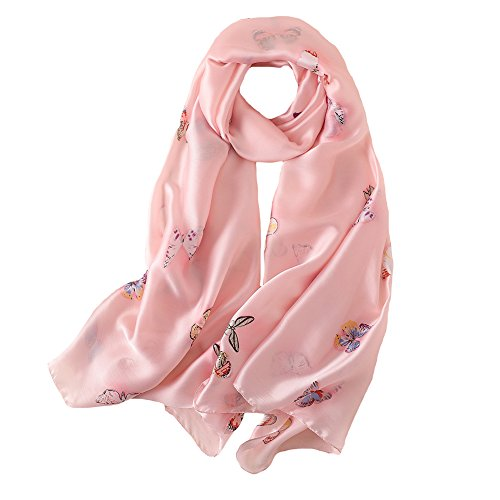 (100% Silk Scarf - Women's Fashion Large Sunscreen Shawls Wraps - Lightweight Floral Pattern Satin for Headscarf&Neck (Butterfly-Pink))