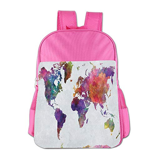 Haixia Students Boys'&Girls' School Backpack Watercolor Hand Drawn World Map Asia Europe Africa America Geography Print Decorative by Haixia