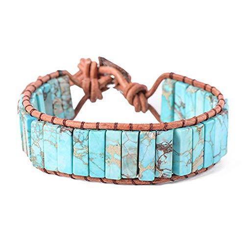 IUNIQUEEN Leather Chakra Handmade Imperial Jasper Wrap Adjustable Bead Bracelet (Turquoise Blue)