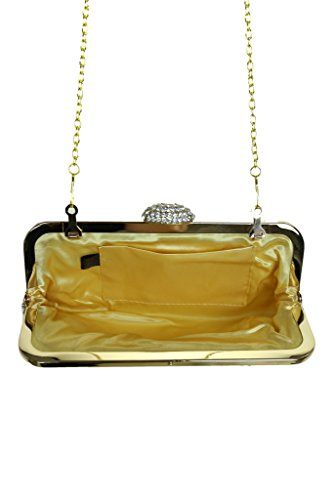 ICE (2532-1) Designer-Look weicher Clutch Bag Diamante Vordere und Schließe Gold-
