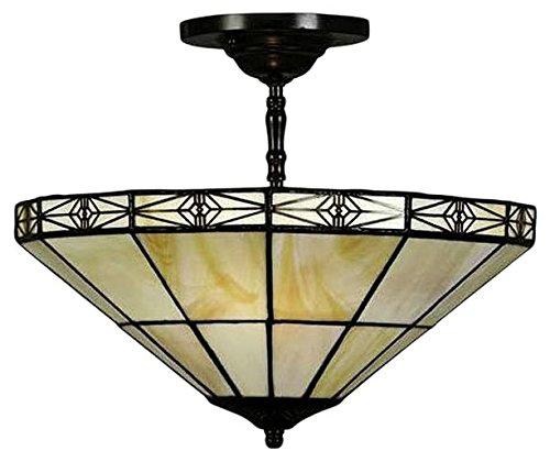 Whse of Tiffany M113+12SF Tiffany-Style Geometric Mission-Style Hanging Lamp - Mission Tiffany Hanging