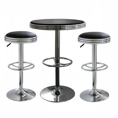 3 Piece Soda Fountain Style Bar Set - Black - 3 Piece Retro Soda