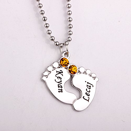 Ingooood Personalized Engraved Baby Feet Necklace with Bi...