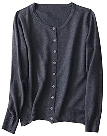 Women's Cashmere Basic Solid Long Sleeve Button Front Crewneck Cardigan Sweater, Grey, Tag S = US XS(0-2)