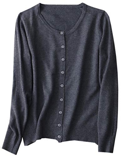 Women's Cashmere Basic Solid Long Sleeve Button Front Crewneck Cardigan Sweater, Grey, Tag L = US M(8)