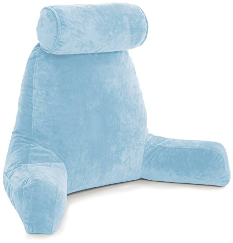 Husband Pillow - Big Bedrest Reading & Support Bed Backrest w/Arms, Sky Blue - Premium Shredded Memory Foam with Detachable Neck Roll Pillow - Bed Rest Pillow Makes a Comfy & Therapeutic Cuddle Buddy ()