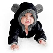 Funzies Baby Bunting Fleece Hooded Romper Bodysuit (3-6 Month, Black)