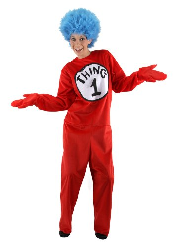 elope Thing 1 & 2 Costume Red Deluxe Jumpsuit and Wig, Adult S/M -