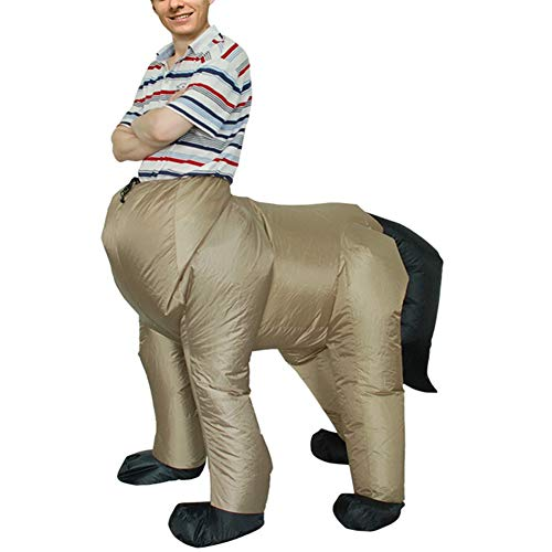 (MJY Funny Inflatable Centaur Costume Adult Blow up Outfit with Horse Mask Head Halloween Easter Cosplay)